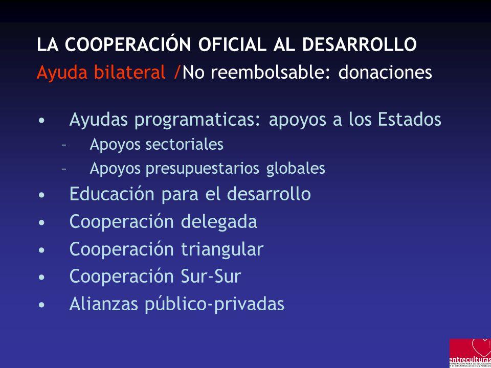 LA COOPERACIÓN OFICIAL AL DESARROLLO Ayuda bilateral /No reembolsable: donaciones Ayudas programaticas: apoyos a los Estados –Apoyos sectoriales –Apoy