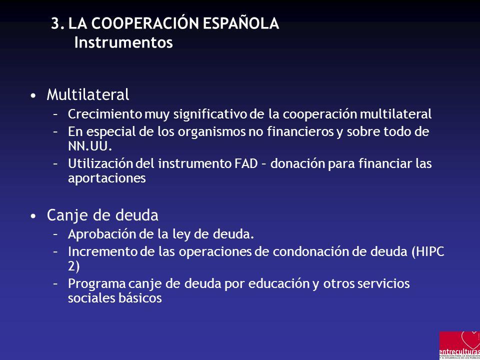 3.LA COOPERACIÓN ESPAÑOLA Instrumentos Multilateral –Crecimiento muy significativo de la cooperación multilateral –En especial de los organismos no financieros y sobre todo de NN.UU.
