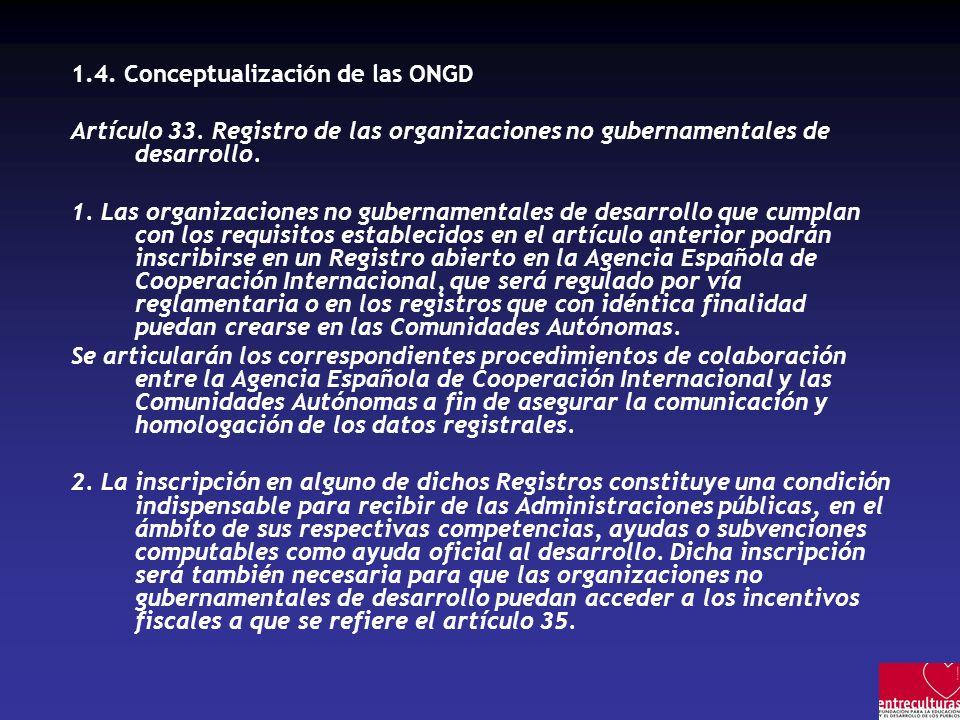 1.4.Conceptualización de las ONGD Artículo 33.