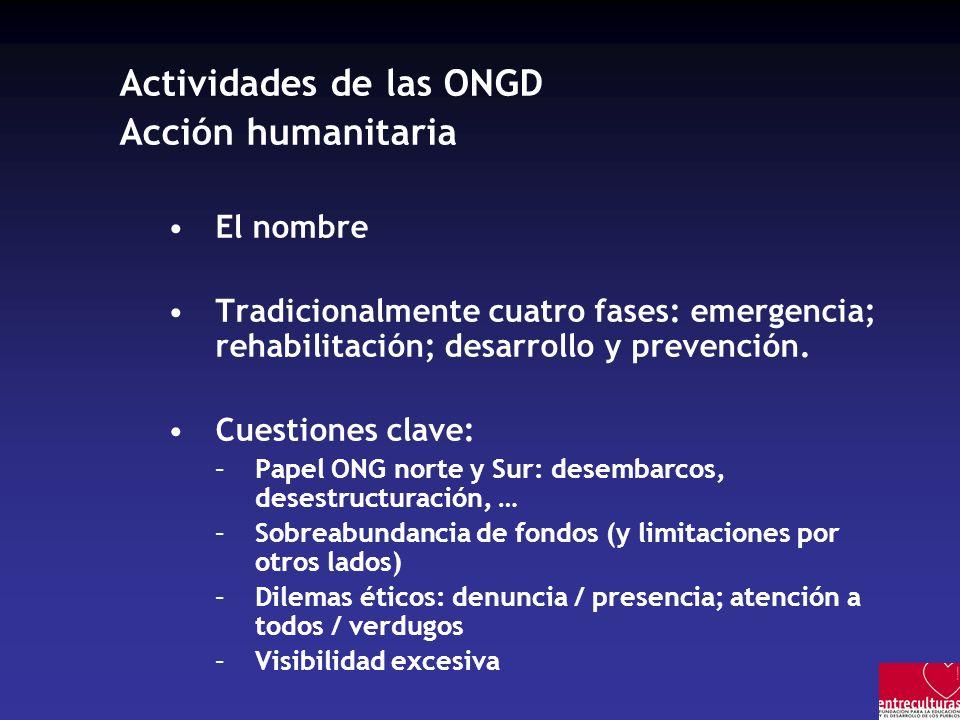 Actividades de las ONGD Acción humanitaria El nombre Tradicionalmente cuatro fases: emergencia; rehabilitación; desarrollo y prevención.