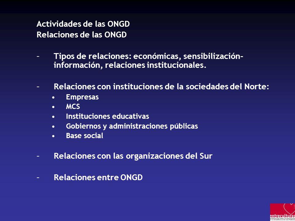 Actividades de las ONGD Relaciones de las ONGD –Tipos de relaciones: económicas, sensibilización- información, relaciones institucionales.