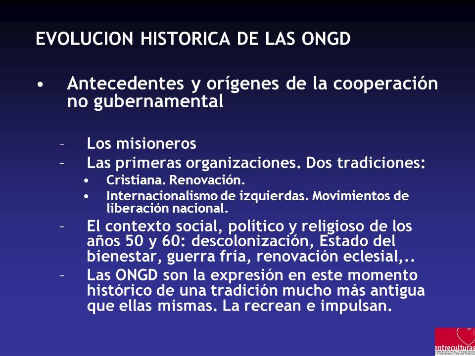 EVOLUCION HISTORICA DE LAS ONGD Antecedentes y orígenes de la cooperación no gubernamental –Los misioneros –Las primeras organizaciones.