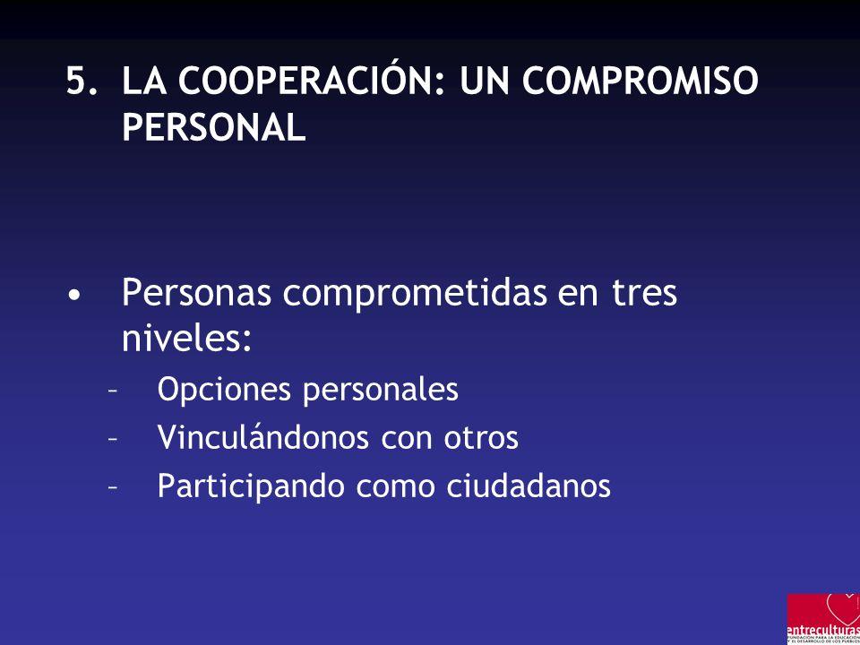 5.LA COOPERACIÓN: UN COMPROMISO PERSONAL Personas comprometidas en tres niveles: –Opciones personales –Vinculándonos con otros –Participando como ciudadanos