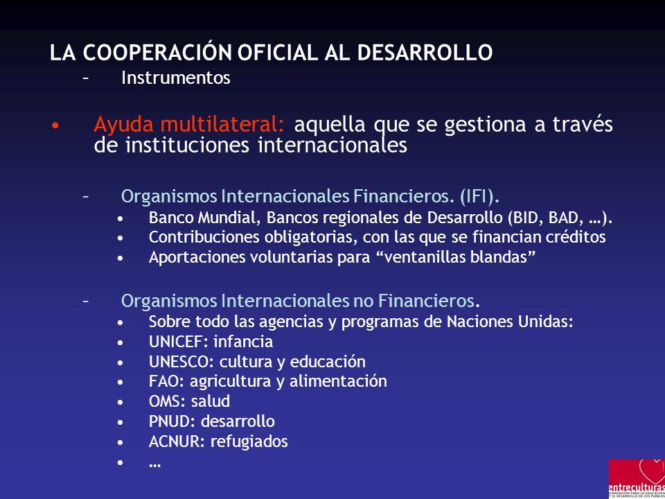 LA COOPERACIÓN OFICIAL AL DESARROLLO –Instrumentos Ayuda multilateral: aquella que se gestiona a través de instituciones internacionales –Organismos Internacionales Financieros.