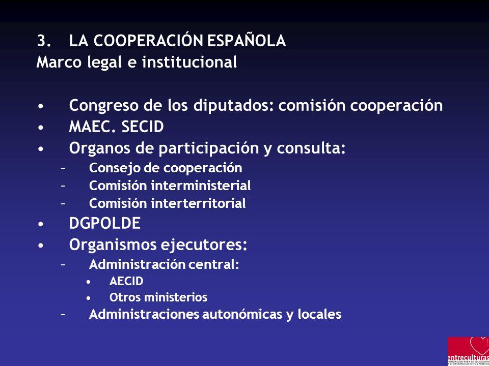 3.LA COOPERACIÓN ESPAÑOLA Marco legal e institucional Congreso de los diputados: comisión cooperación MAEC.