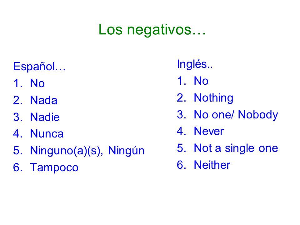 Los negativos… Español… 1.No 2.Nada 3.Nadie 4.Nunca 5.Ninguno(a)(s), Ningún 6.Tampoco Inglés.. 1.No 2.Nothing 3.No one/ Nobody 4.Never 5.Not a single