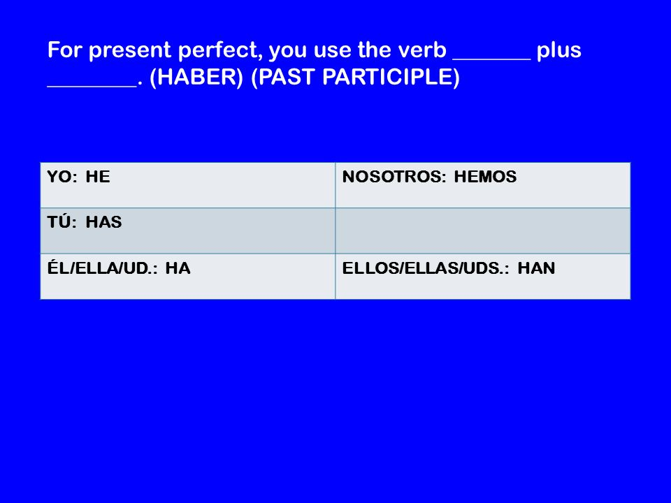 For present perfect, you use the verb _______ plus ________.