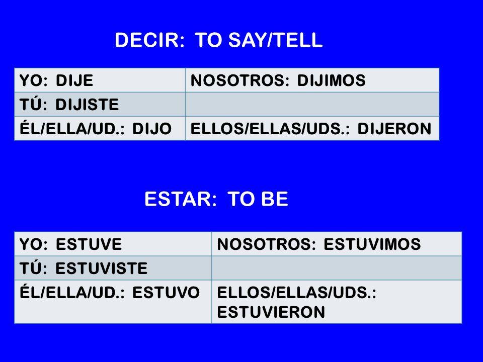 YO: DIJENOSOTROS: DIJIMOS TÚ: DIJISTE ÉL/ELLA/UD.: DIJOELLOS/ELLAS/UDS.: DIJERON YO: ESTUVENOSOTROS: ESTUVIMOS TÚ: ESTUVISTE ÉL/ELLA/UD.: ESTUVOELLOS/ELLAS/UDS.: ESTUVIERON DECIR: TO SAY/TELL ESTAR: TO BE
