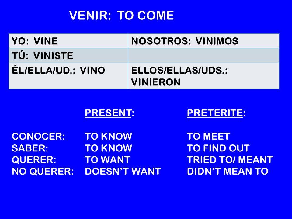 YO: VINENOSOTROS: VINIMOS TÚ: VINISTE ÉL/ELLA/UD.: VINOELLOS/ELLAS/UDS.: VINIERON VENIR: TO COME PRESENT:PRETERITE: CONOCER: TO KNOW TO MEET SABER: TO