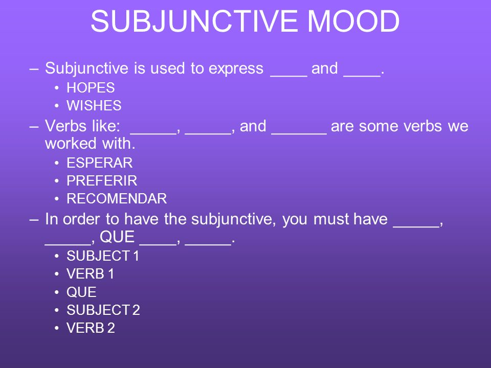 SUBJUNCTIVE MOOD –Subjunctive is used to express ____ and ____. HOPES WISHES –Verbs like: _____, _____, and ______ are some verbs we worked with. ESPE