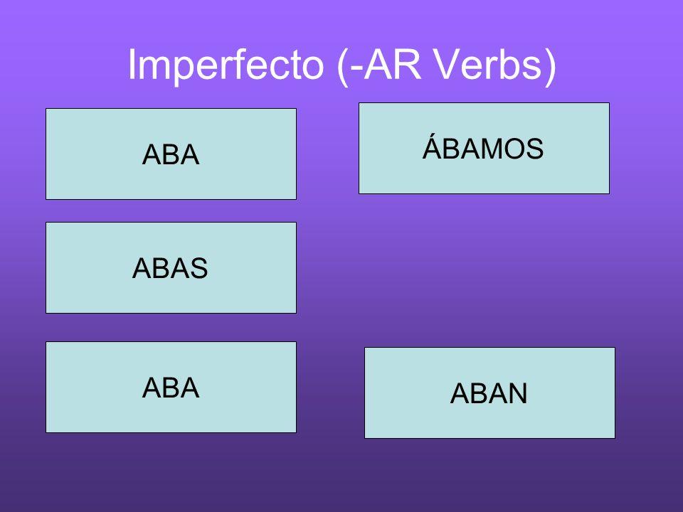 Imperfecto (-AR Verbs) ABA ABAN ÁBAMOS ABA ABAS