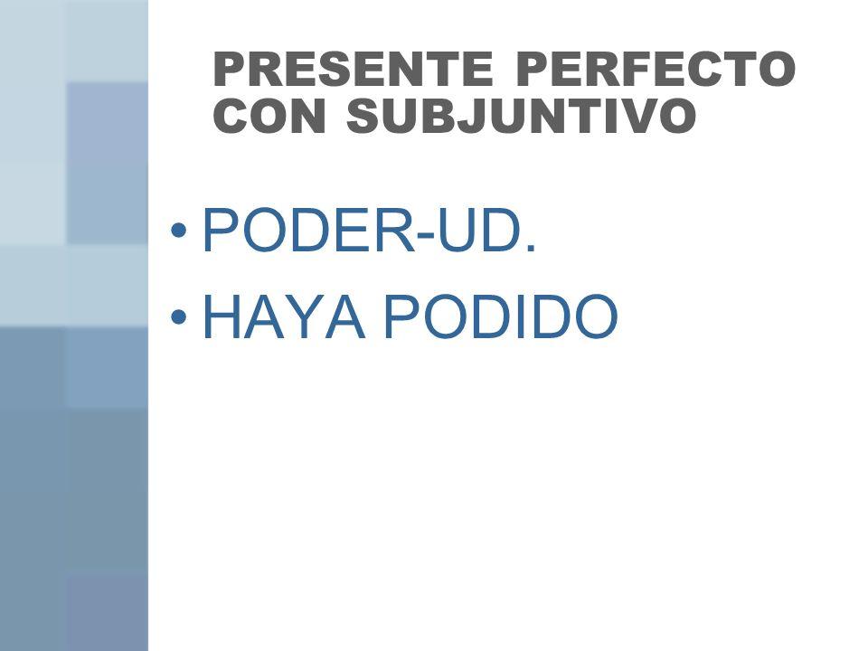 PRESENTE PERFECTO CON SUBJUNTIVO PODER-UD. HAYA PODIDO