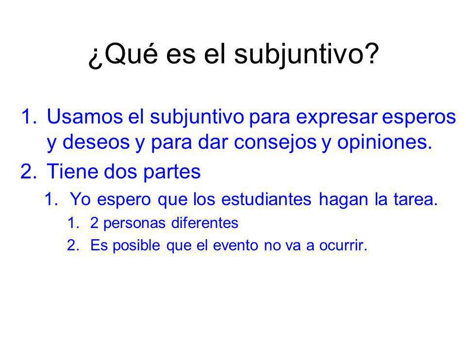 ¿Qué es el subjuntivo? 1.Usamos el subjuntivo para expresar esperos y deseos y para dar consejos y opiniones. 2.Tiene dos partes 1.Yo espero que los e