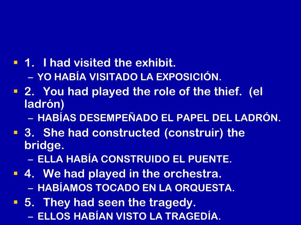1.I had visited the exhibit. – –YO HABÍA VISITADO LA EXPOSICIÓN. 2.You had played the role of the thief. (el ladrón) – –HABÍAS DESEMPEÑADO EL PAPEL DE
