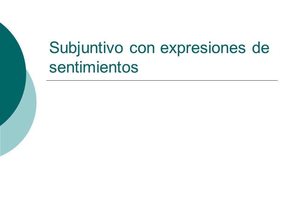 Subjuntivo con expresiones de sentimientos