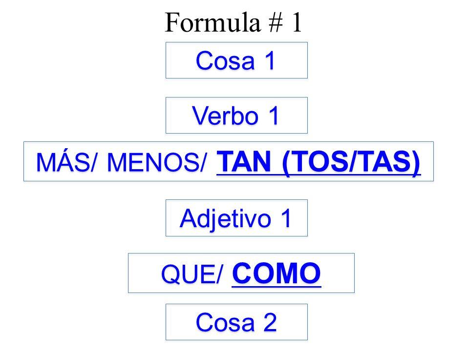 Formula # 1 Cosa 1 Verbo 1 Adjetivo 1 MÁS/ MENOS/ TAN (TOS/TAS) QUE/ COMO Cosa 2