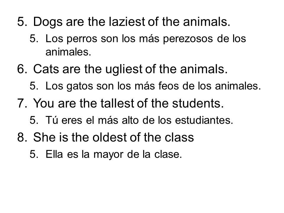 5.Dogs are the laziest of the animals. 5.Los perros son los más perezosos de los animales. 6.Cats are the ugliest of the animals. 5.Los gatos son los