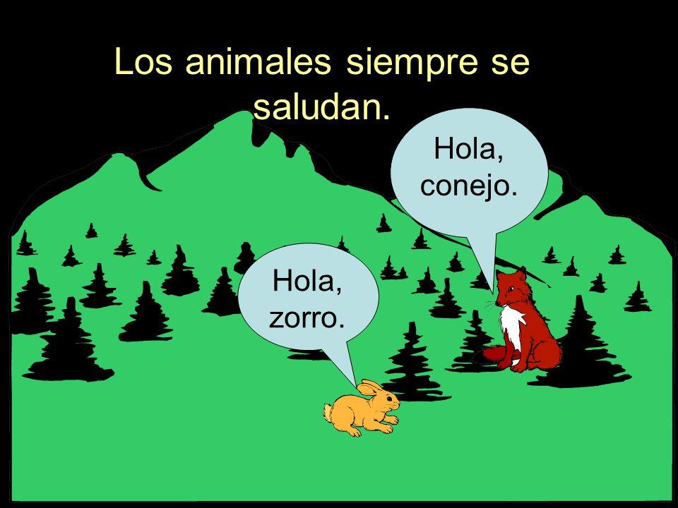 Los animales siempre se saludan. Hola, zorro. Hola, conejo.