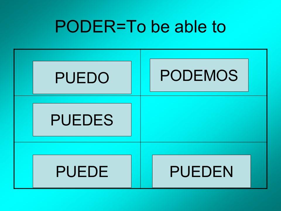 PODER=To be able to PUEDO PUEDES PUEDE PODEMOS PUEDEN