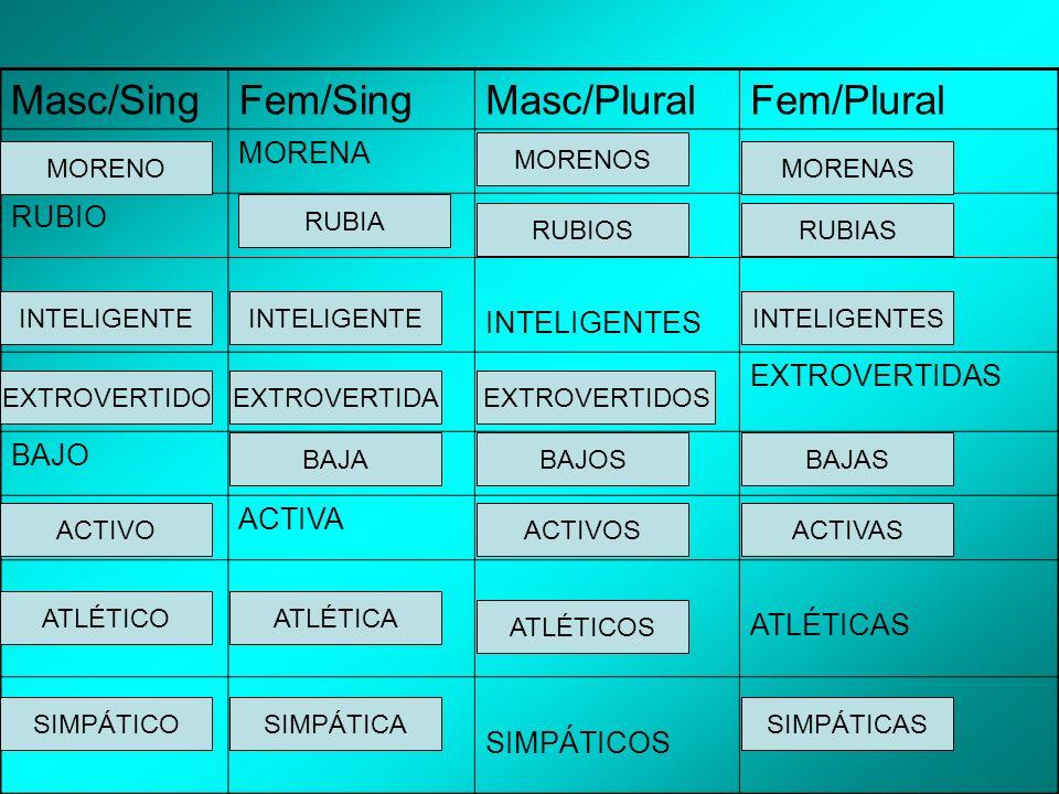 Masc/SingFem/SingMasc/PluralFem/Plural MORENA RUBIO INTELIGENTES EXTROVERTIDAS BAJO ACTIVA ATLÉTICAS SIMPÁTICOS MORENO EXTROVERTIDAEXTROVERTIDO RUBIAS