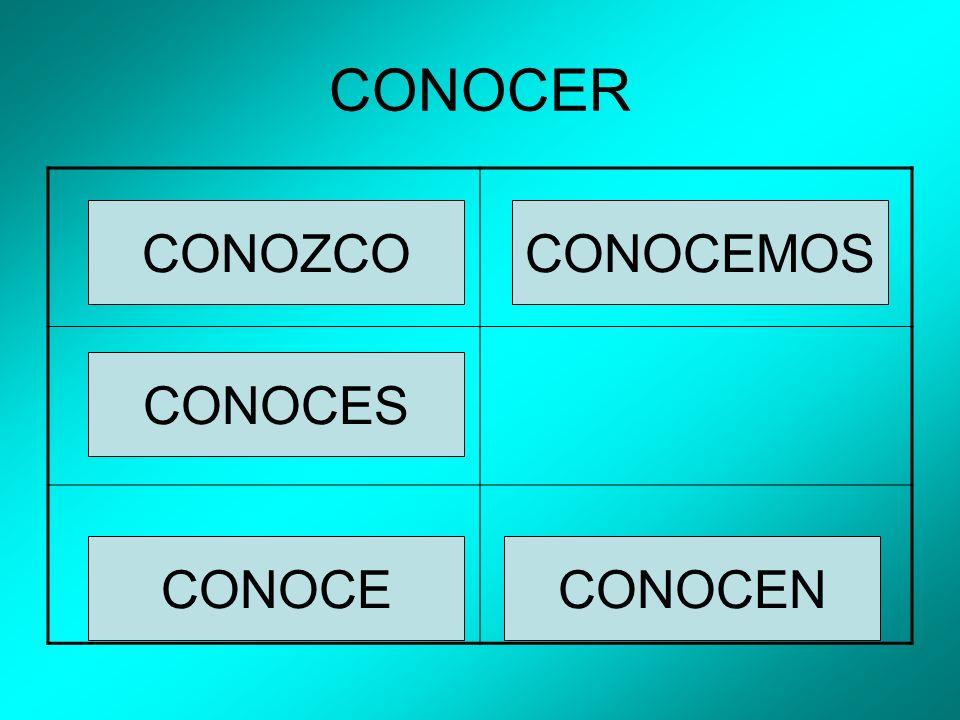 CONOCER CONOZCO CONOCES CONOCEMOS CONOCENCONOCE
