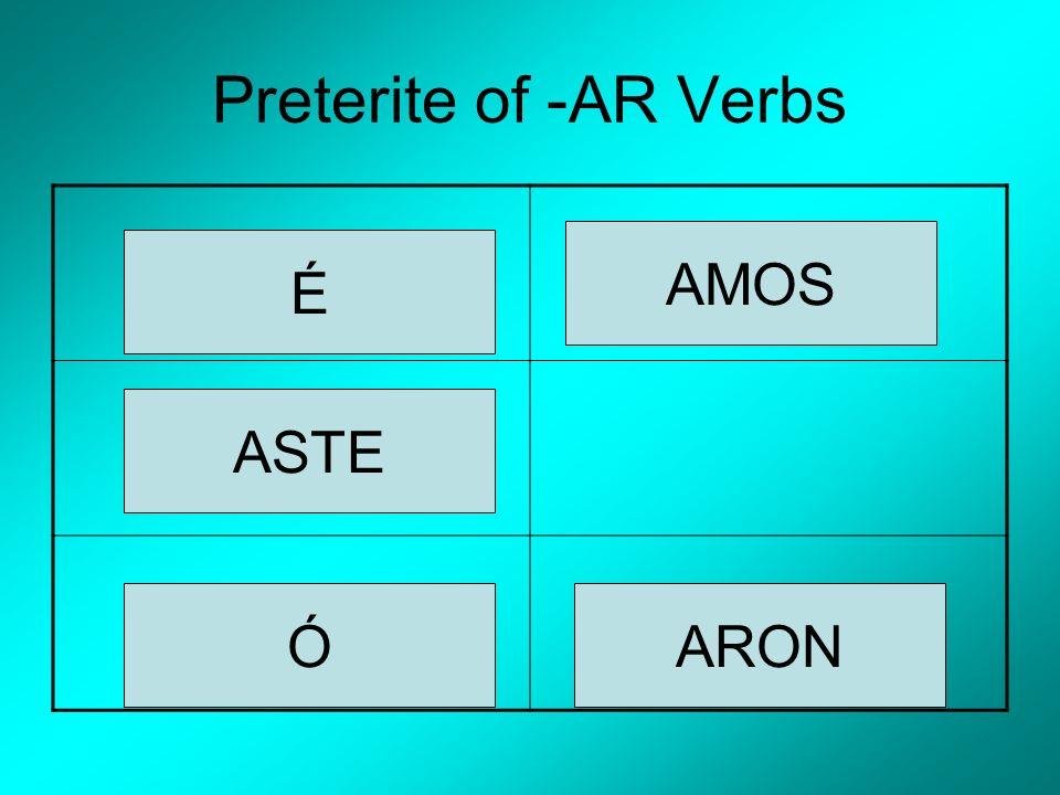 Preterite of -AR Verbs É ASTE Ó AMOS ARON