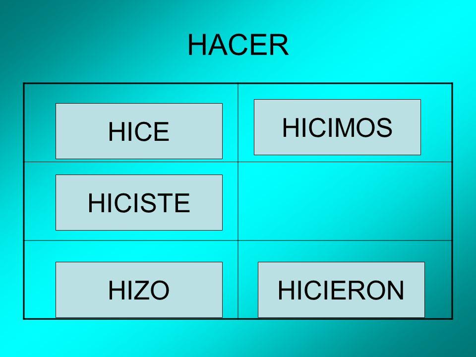 HACER HICE HICISTE HIZO HICIMOS HICIERON