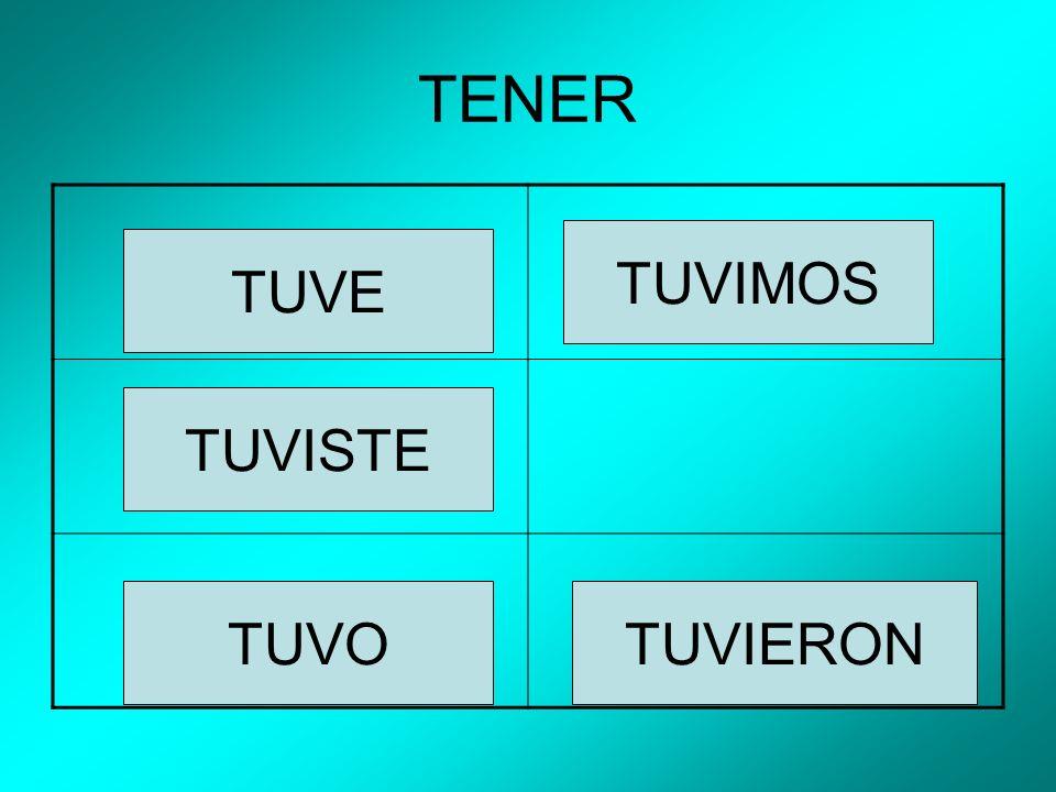 TENER TUVE TUVISTE TUVO TUVIMOS TUVIERON