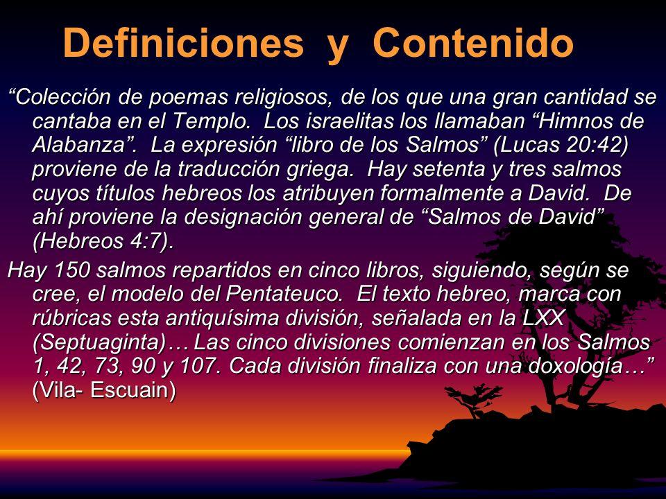 Definiciones y Contenido Colección de poemas religiosos, de los que una gran cantidad se cantaba en el Templo.