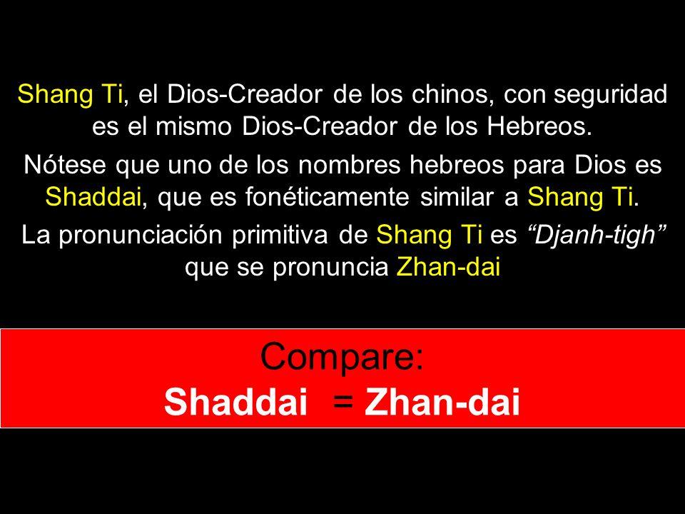 Shang Ti, el Dios-Creador de los chinos, con seguridad es el mismo Dios-Creador de los Hebreos.