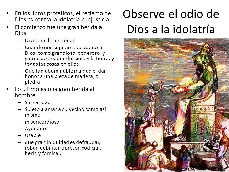 Observe el odio de Dios a la idolatría En los libros proféticos, el reclamo de Dios es contra la idolatría e injusticia El comienzo fue una gran herid