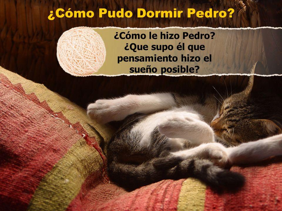 ¿Cómo Pudo Dormir Pedro? ¿Cómo le hizo Pedro? ¿Que supo él que pensamiento hizo el sueño posible?