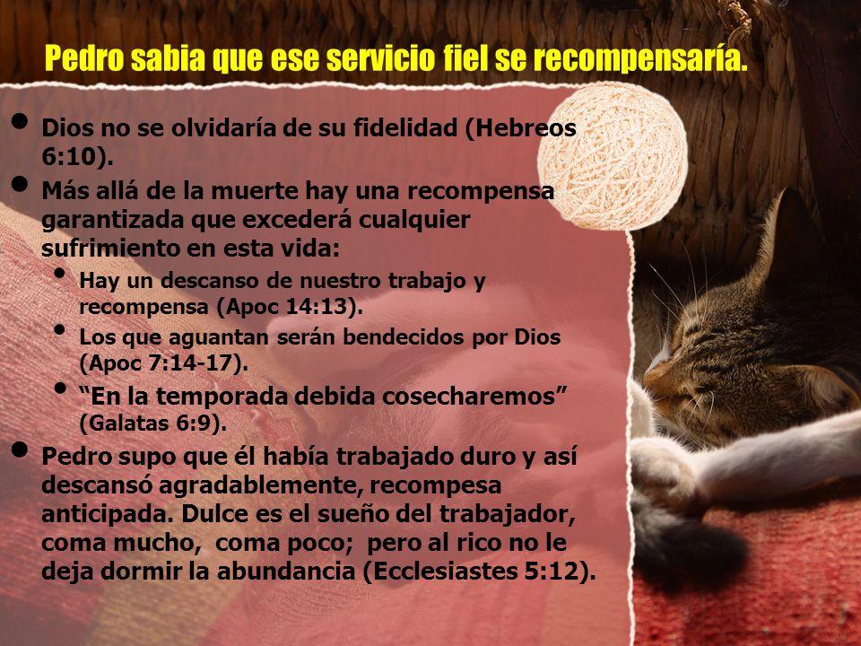 Pedro sabia que ese servicio fiel se recompensaría. Dios no se olvidaría de su fidelidad (Hebreos 6:10). Más allá de la muerte hay una recompensa gara