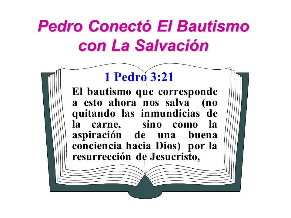 Pedro Conectó El Bautismo con La Salvación 1 Pedro 3:21 El bautismo que corresponde a esto ahora nos salva (no quitando las inmundicias de la carne, s