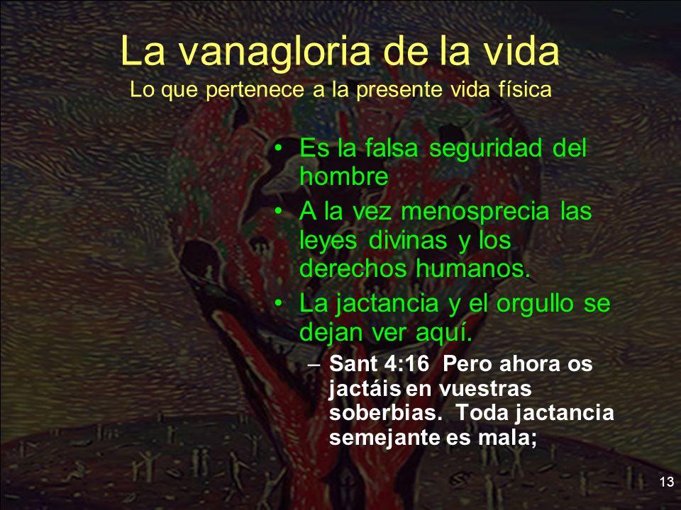 13 La vanagloria de la vida Lo que pertenece a la presente vida física Es la falsa seguridad del hombre A la vez menosprecia las leyes divinas y los d