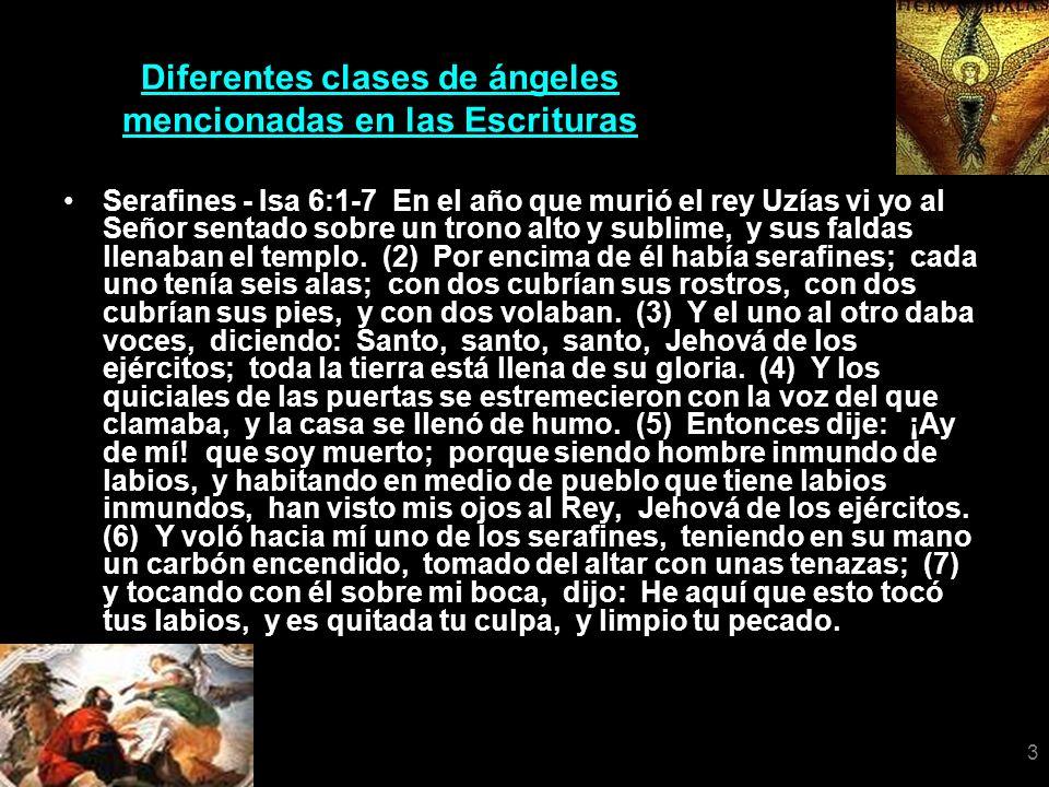 3 Diferentes clases de ángeles mencionadas en las Escrituras Serafines - Isa 6:1-7 En el año que murió el rey Uzías vi yo al Señor sentado sobre un tr