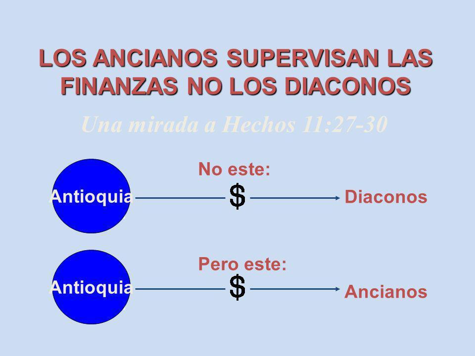 LOS ANCIANOS SUPERVISAN LAS FINANZAS NO LOS DIACONOS Antioch Antioquia No este: Pero este: Diaconos Ancianos Una mirada a Hechos 11:27-30 Antioch Anti