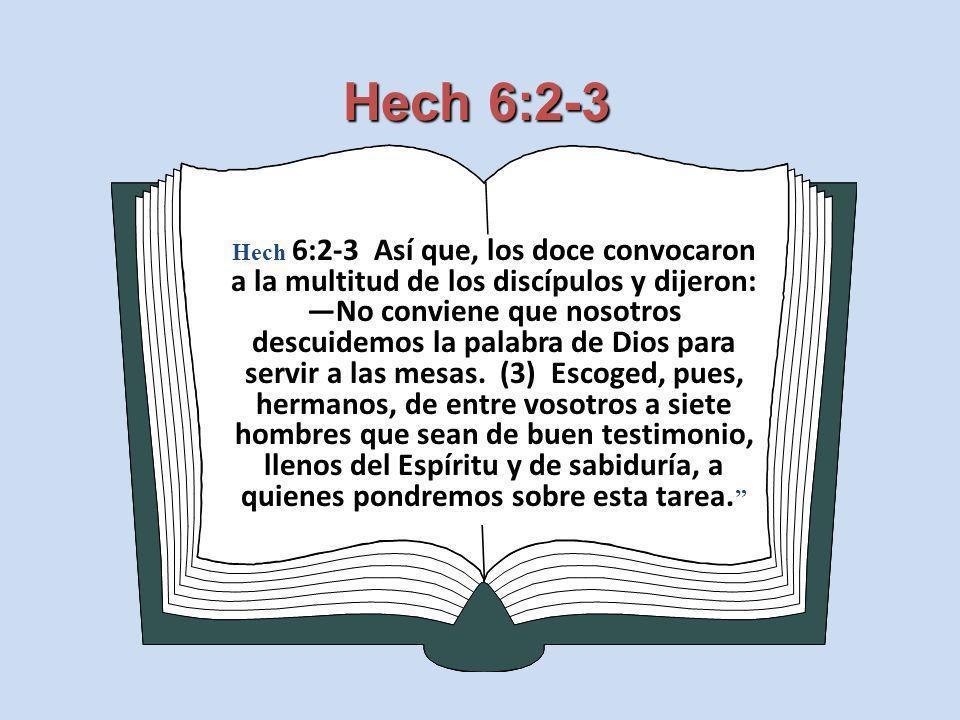 Hech 6:2-3 Hech 6:2-3 Así que, los doce convocaron a la multitud de los discípulos y dijeron: No conviene que nosotros descuidemos la palabra de Dios