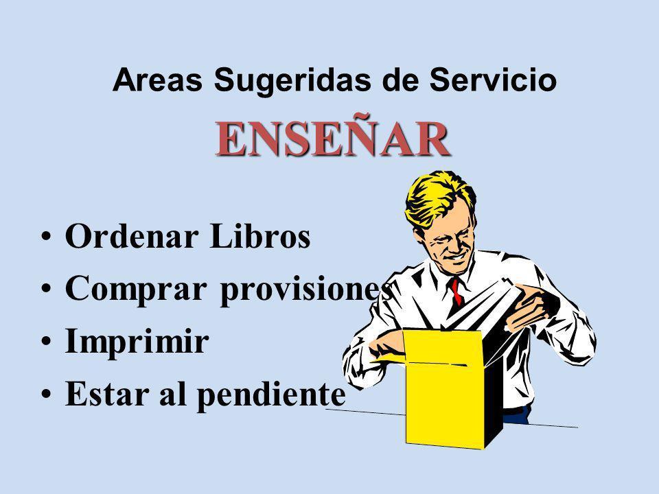 Areas Sugeridas de Servicio ENSEÑAR Ordenar Libros Comprar provisiones Imprimir Estar al pendiente