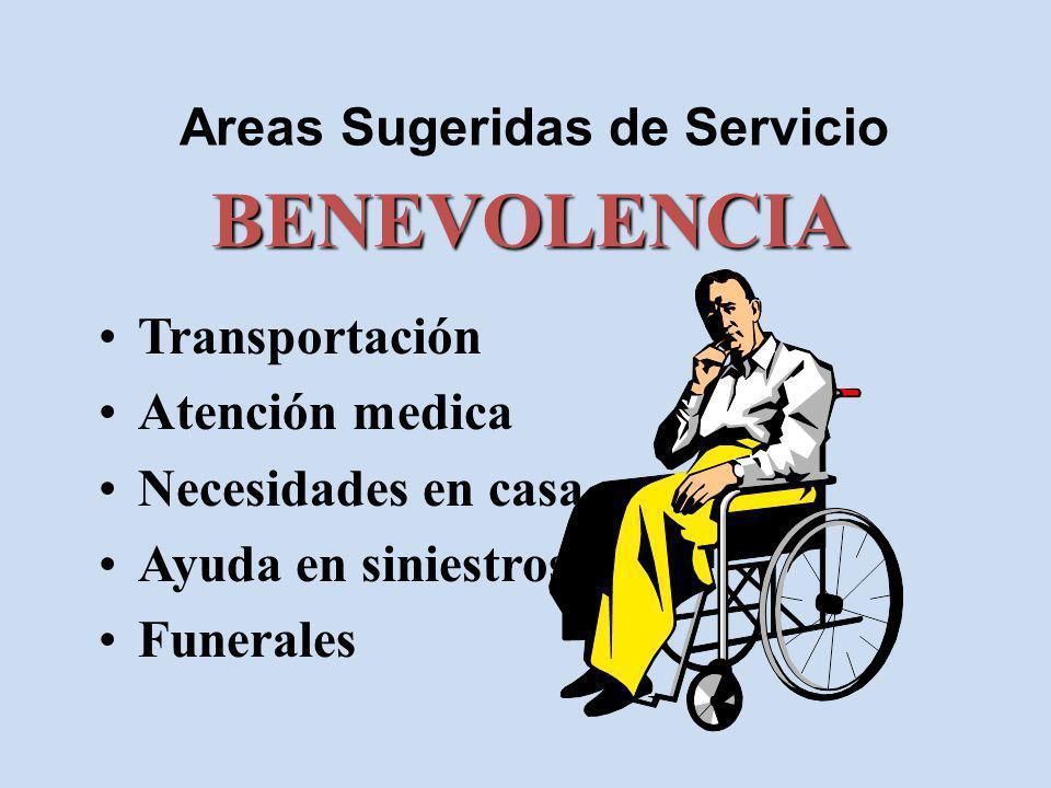 Areas Sugeridas de Servicio Transportación Atención medica Necesidades en casa Ayuda en siniestros Funerales BENEVOLENCIA