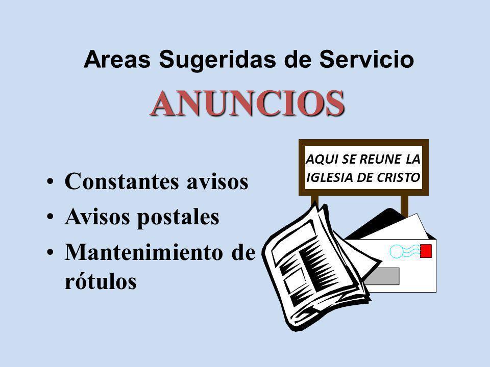 Areas Sugeridas de Servicio Constantes avisos Avisos postales Mantenimiento de rótulos ANUNCIOS AQUI SE REUNE LA IGLESIA DE CRISTO