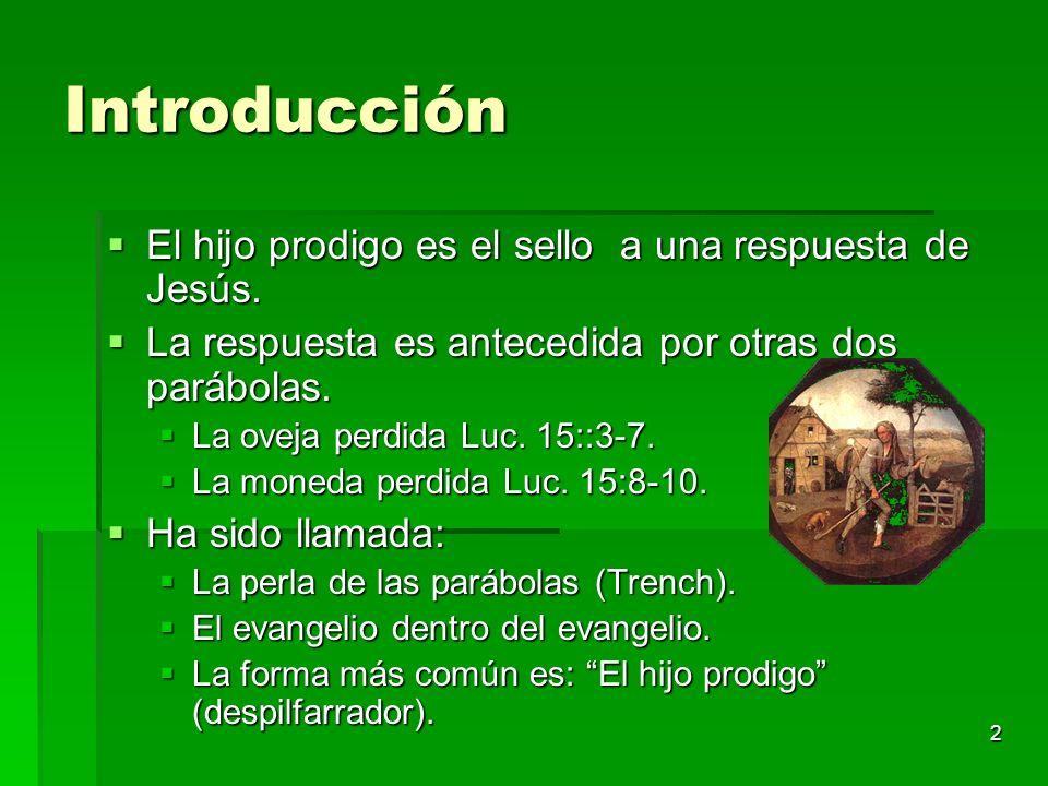 2 Introducción El hijo prodigo es el sello a una respuesta de Jesús. El hijo prodigo es el sello a una respuesta de Jesús. La respuesta es antecedida