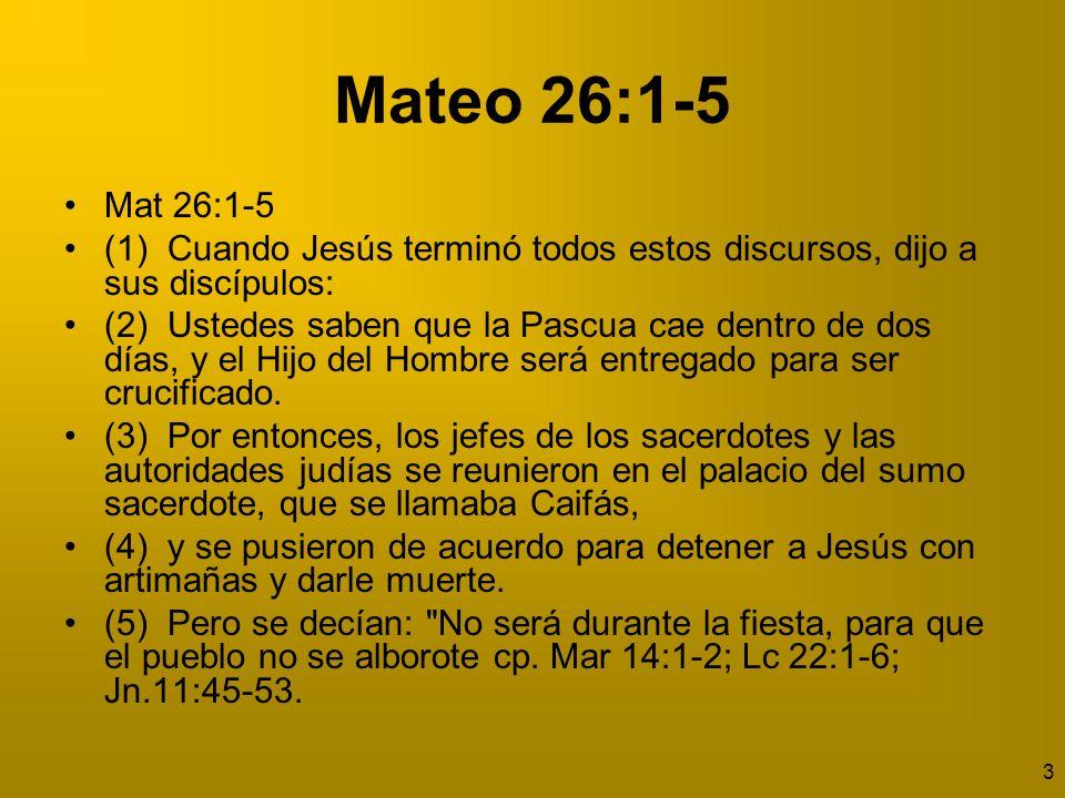 4 ¿Cuándo se hizo este acuerdo.Cuando hubo acabado Jesús todas estas palabras 26:1.