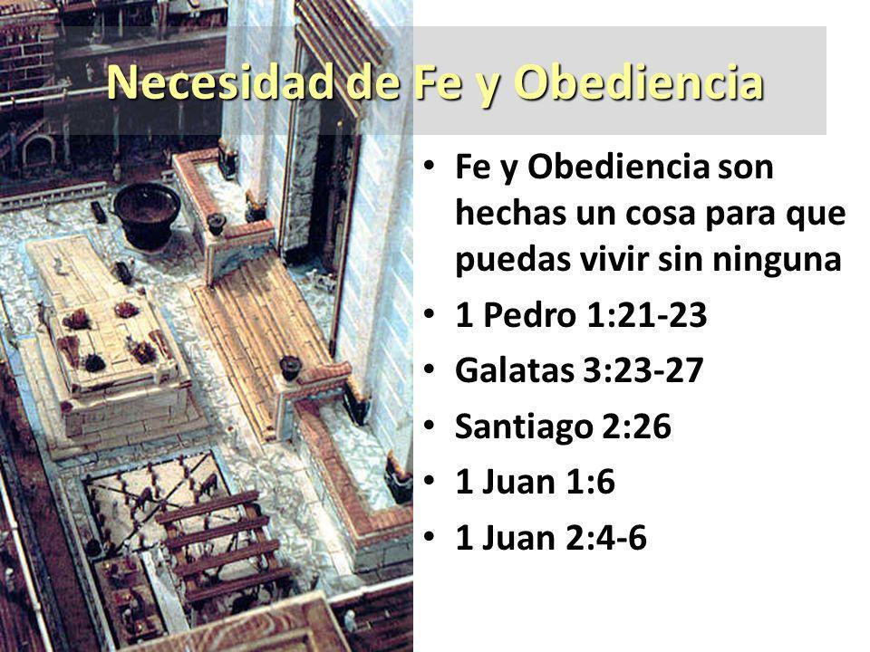 Necesidad de Fe y Obediencia Fe y Obediencia son hechas un cosa para que puedas vivir sin ninguna 1 Pedro 1:21-23 Galatas 3:23-27 Santiago 2:26 1 Juan