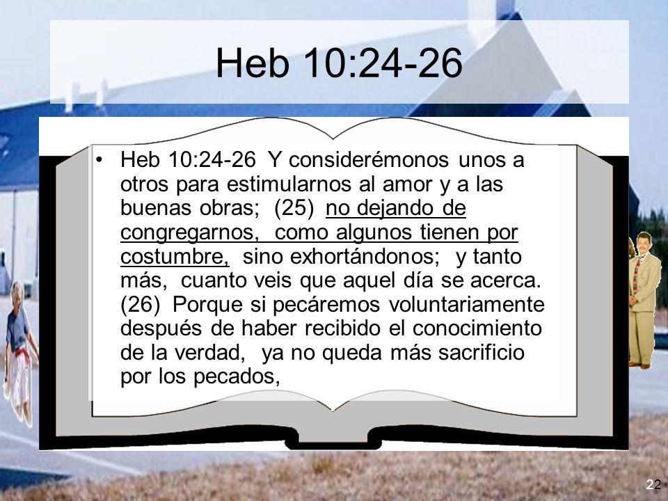 2 Heb 10:24-26 Heb 10:24-26 Y considerémonos unos a otros para estimularnos al amor y a las buenas obras; (25) no dejando de congregarnos, como alguno