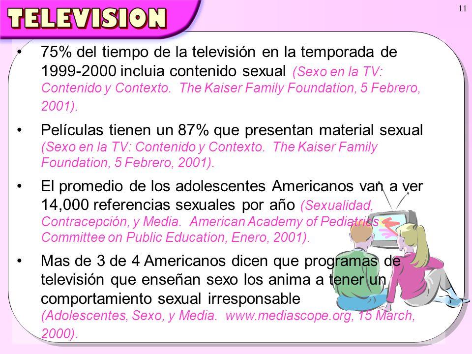 11 75% del tiempo de la televisión en la temporada de 1999-2000 incluia contenido sexual (Sexo en la TV: Contenido y Contexto. The Kaiser Family Found