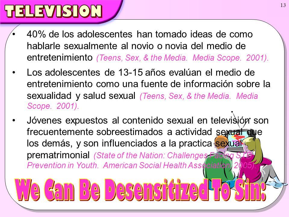 13 40% de los adolescentes han tomado ideas de como hablarle sexualmente al novio o novia del medio de entretenimiento (Teens, Sex, & the Media. Media