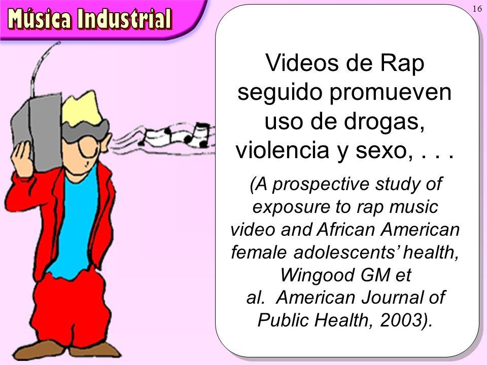 16 Videos de Rap seguido promueven uso de drogas, violencia y sexo,... (A prospective study of exposure to rap music video and African American female