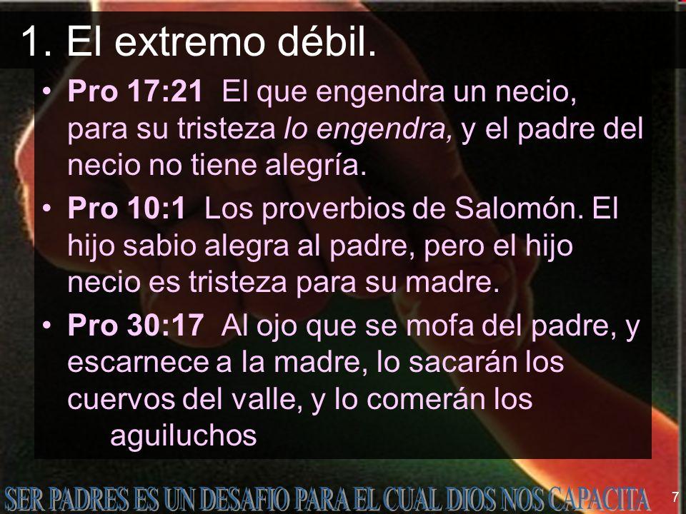 7 Pro 17:21 El que engendra un necio, para su tristeza lo engendra, y el padre del necio no tiene alegría. Pro 10:1 Los proverbios de Salomón. El hijo