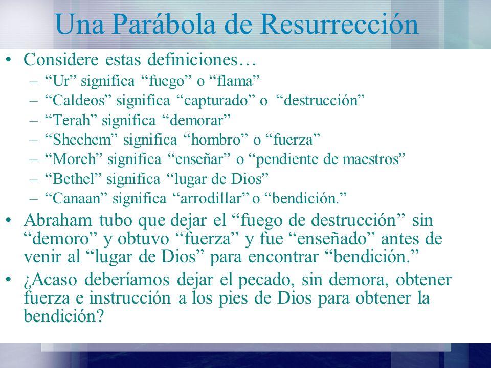 Una Parábola de Resurrección Abraham nombro el cerro donde iba a sacrificar a Isaac el Señor Proveerá.